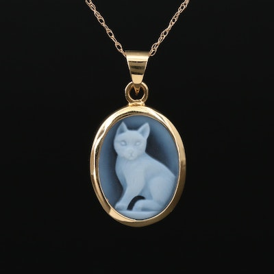 14K Gold Carved Onyx Cat Cameo Necklace