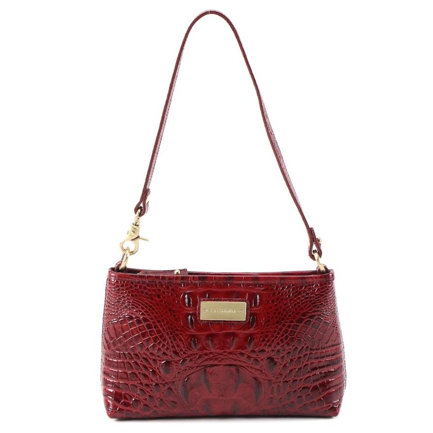 Brahmin Ember Crocodile Embossed Red Leather Shoulder Bag