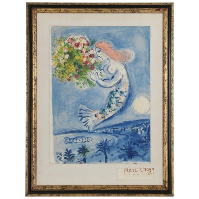 "Lithograph after Marc Chagall ""La Baie des Anges"""