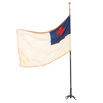 Colonial Artglo Christian Flag with Paw Feet Cast Iron Holder, Early 20th C.