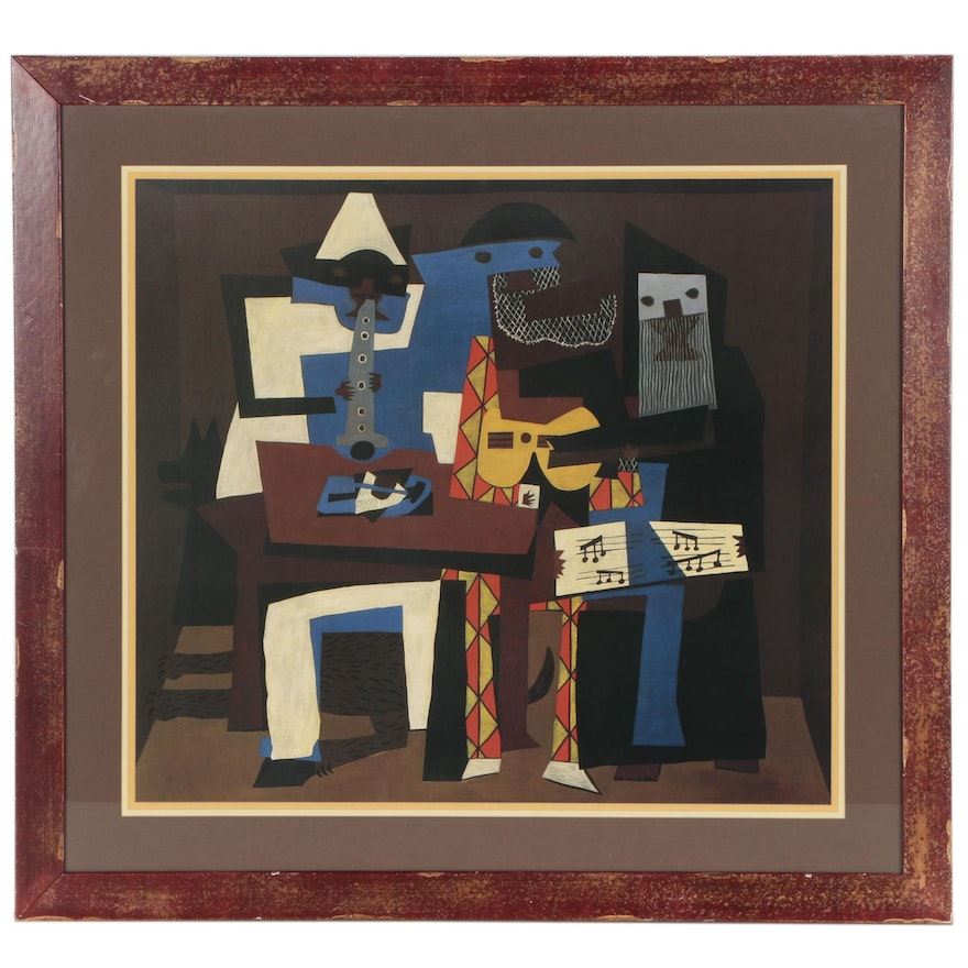 """Offset Lithograph after Pablo Picasso """"Three Musicians"""""""