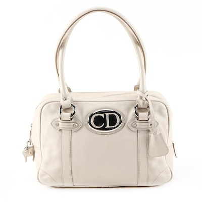 Christian Dior Off-White Leather Shoulder Bag