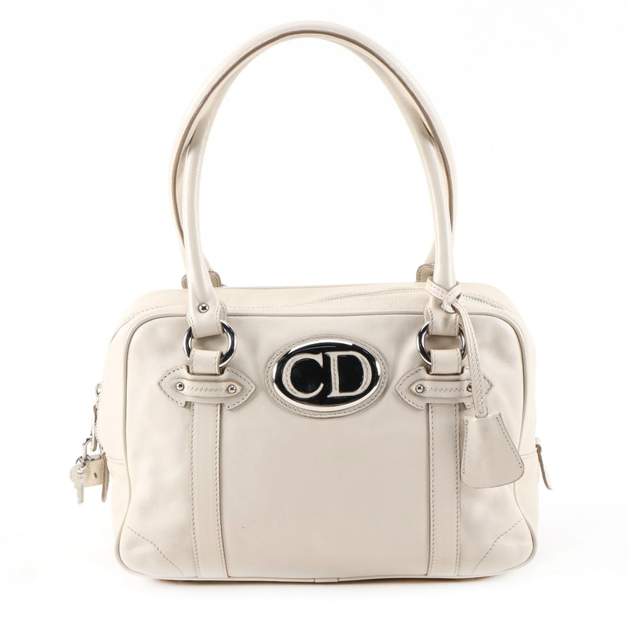 Christian Dior Off-White Leather Shoulder Bag