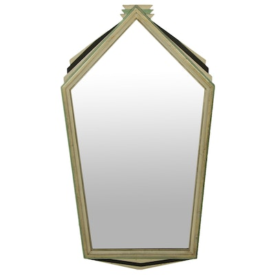 Art Deco Polychrome Painted Wall Mirror, Early to Mid 20th Century