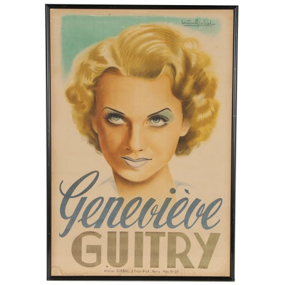 "Lithograph after Gaston Girbal ""Geneviève Guitry"""