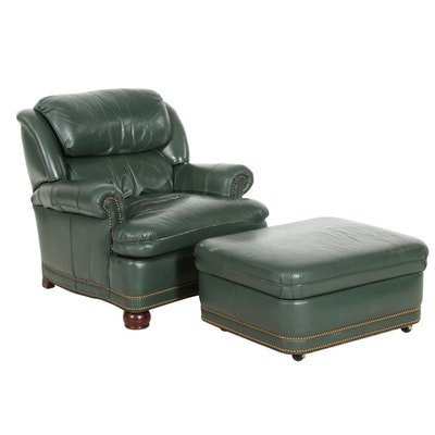 Hancock & Moore Green Leather Arm Chair and Ottoman with Convertible Table