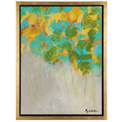 """Claire McElveen Mixed Media Painting """"Spring Emerald"""", 2017"""
