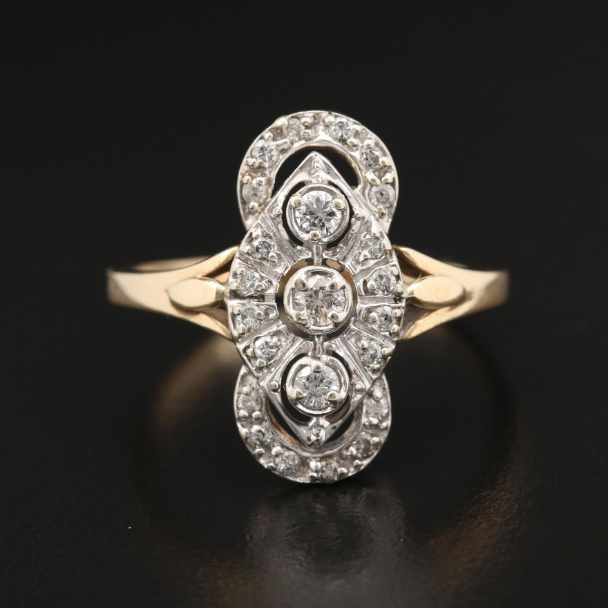 14K Yellow and White Gold 0.50 CTW Diamond Ring