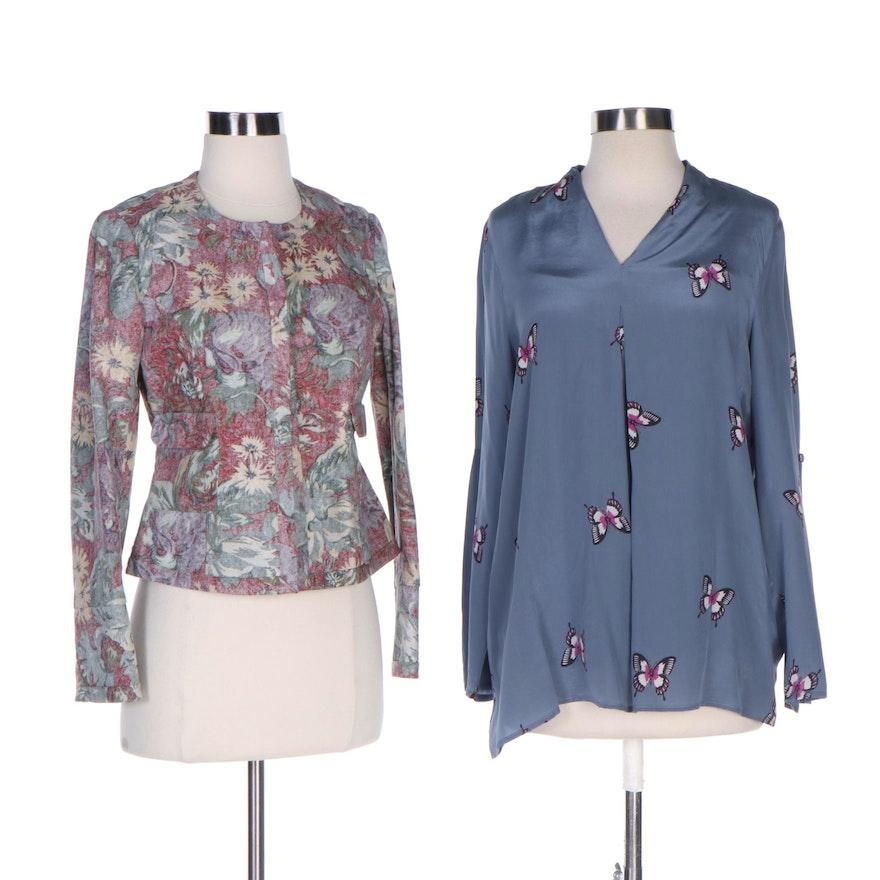 J. Peterman Cotton Trend Reversing Blazer and Silk Butterfly Tunic