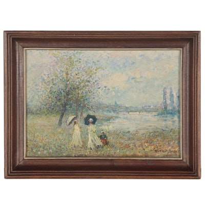Impressionist-Style Figural Oil Painting