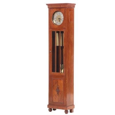 Edwardian Style Walnut Veneer Longcase Grandfather Clock