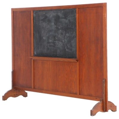 Mixed Wood Double Sided Schoolhouse Chalk Board, Early 20th Century