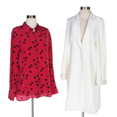 J. Peterman Design Sample Lace Cuff Coat and Spirited Polka Dot Blouse