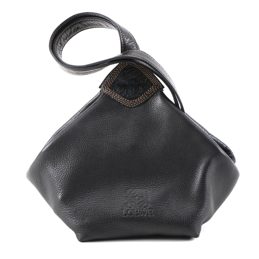 Loewe Pebbled Leather Hammock Sling Bag with Ostrich Skin and Contrast Stitching