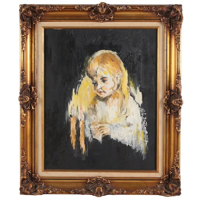 Oil Painting of Child and Candles