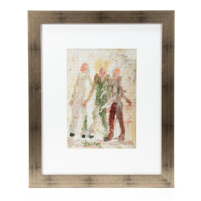 "Purvis Young Folk Art Figural Offset Lithograph ""Juz Sum Dudes"""