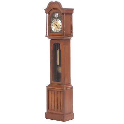 Ridgeway Walnut Veneer Longcase Grandfather Clock