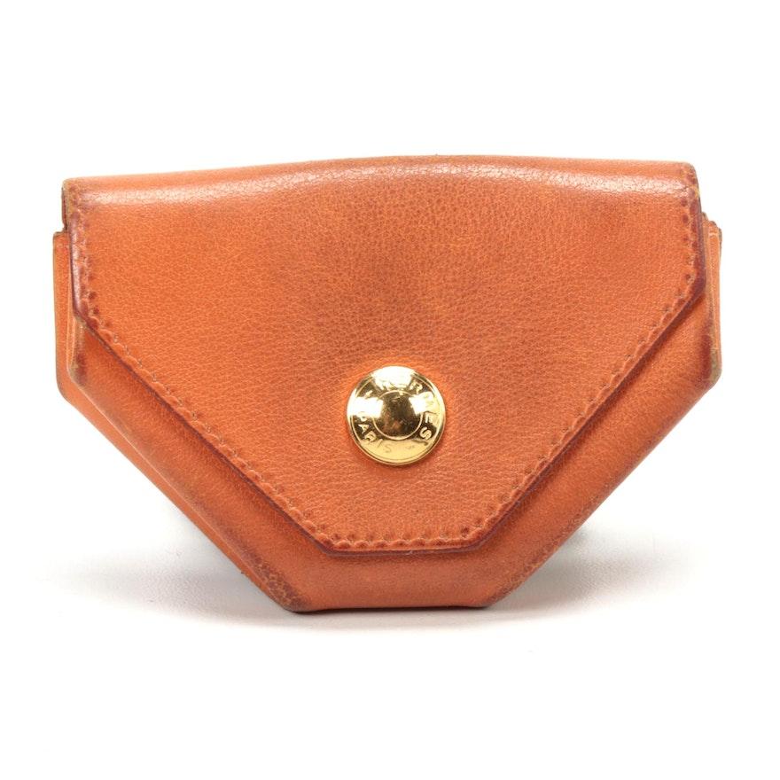 Hermès Orange Leather Accordion Coin Purse