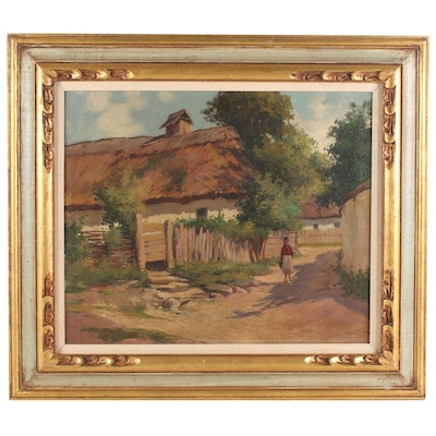 Oil Painting of Village Road, Early-Mid 20th Century