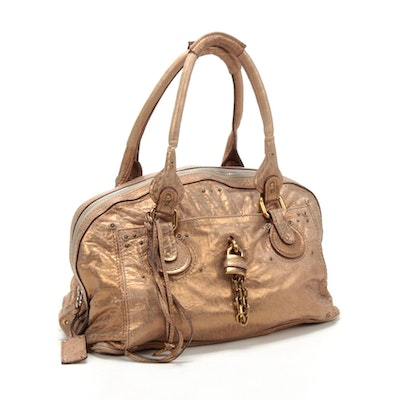 Chloé Small Paddington Satchel in Gold Metallic Leather