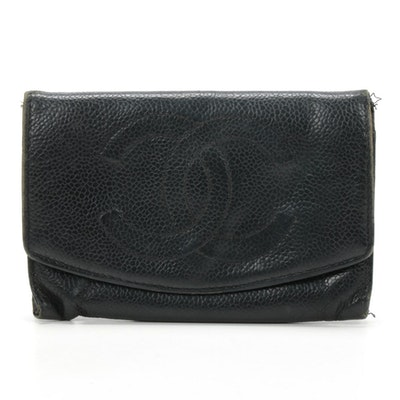 Chanel CC Caviar Leather Bifold Wallet
