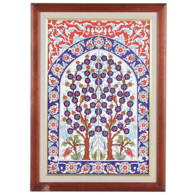 European Style Tree of Life Printed Porcelain Tile Wall Hanging