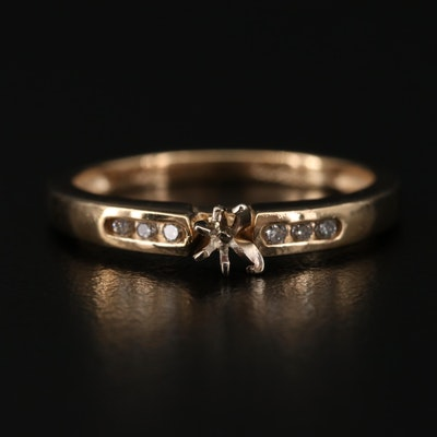 10K Yellow Gold Diamond Semi-Mount Ring
