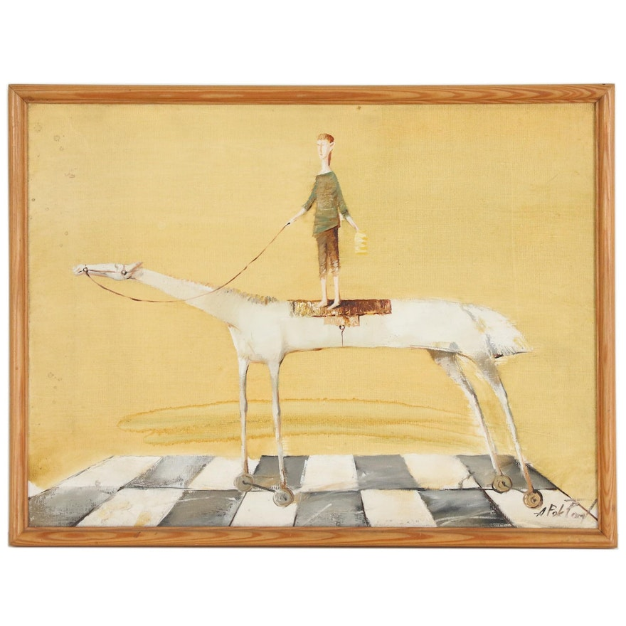 Folk Art Oil Painting of Figure on Horse