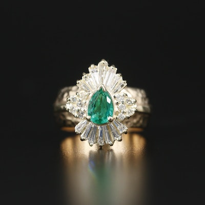 14K Yellow Gold Emerald and 0.75 CTW Diamond Ring