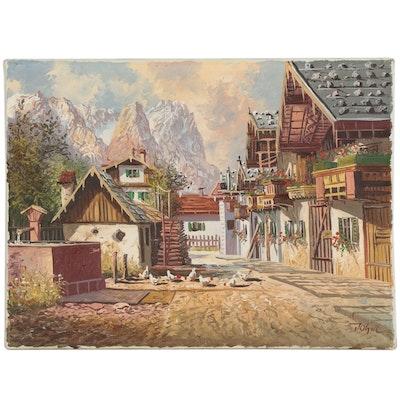 """Cityscape Oil Painting """"Garmisch: Frühlingsstraße"""""""