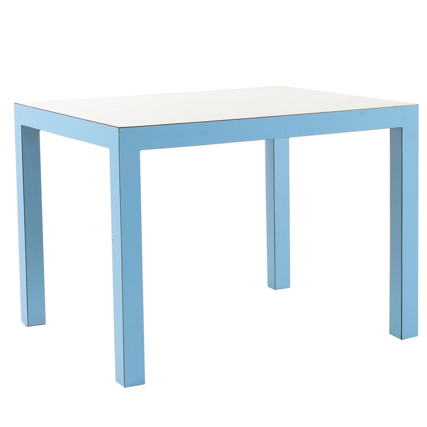 Parsons Style Blue and White Laminate End Table, Mid-20th Century