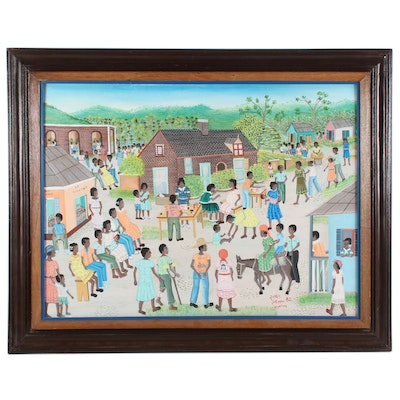James Joseph Folk Art Acrylic Painting, 1982