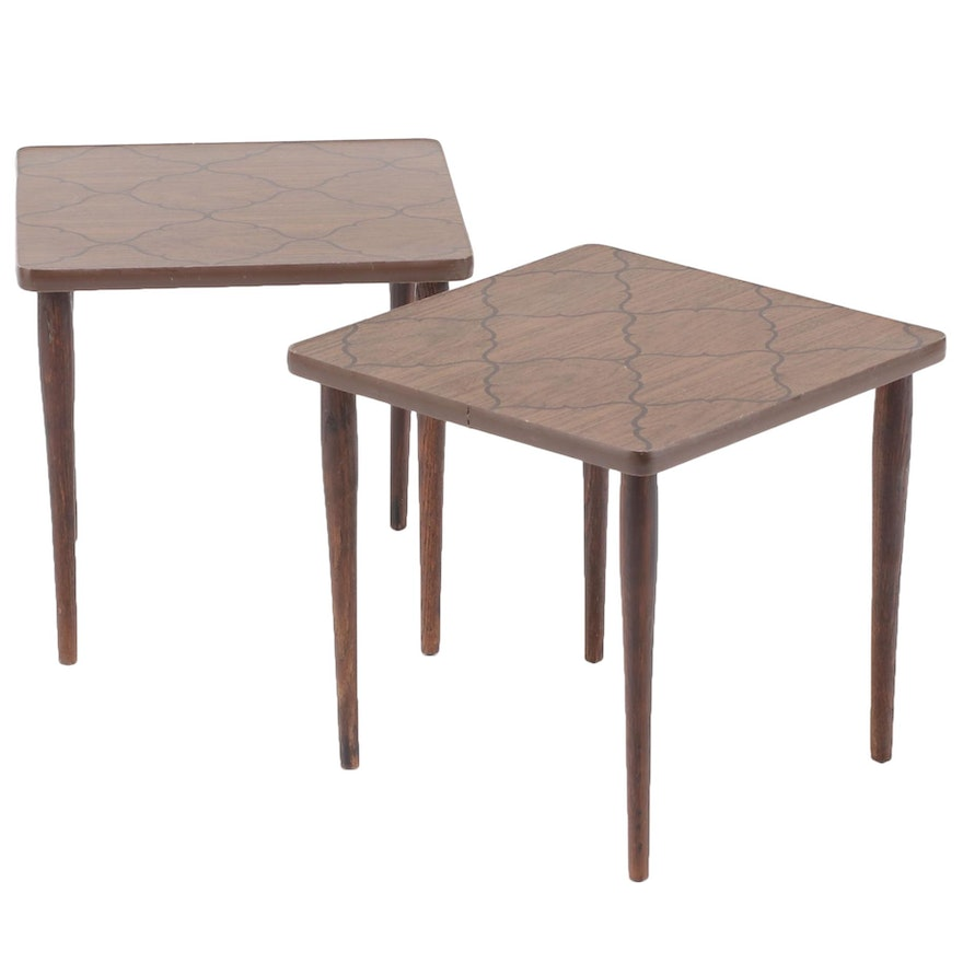 Mid Century Modern Walnut-Grained and Patterned Laminate End Tables, 1960s