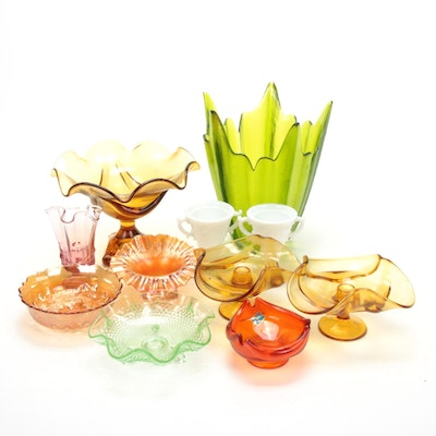 Fenton, Viking, Indiana Glass, and More Colored Glass Table Accessories, Vintage