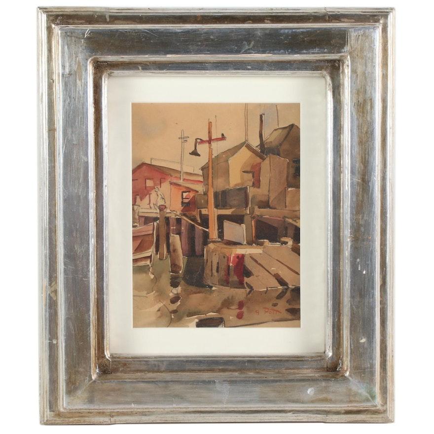 George Post Harbor Scene Watercolor Painting