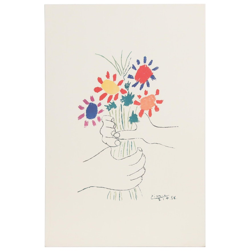 """Offset Lithograph after Pablo Picasso """"Bouquet of Peace"""""""