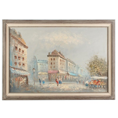 Impressionist Style Parisian Street Scene Oil Painting, Mid to Late 20th Century