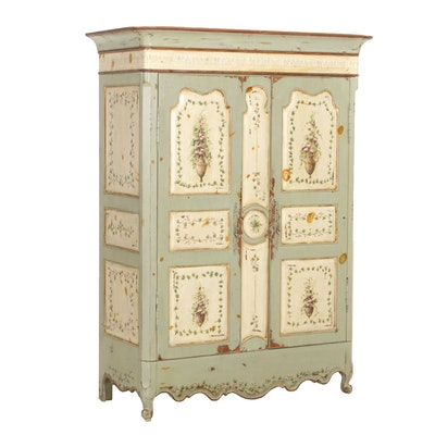 French Provincial Style Painted Wood Armoire