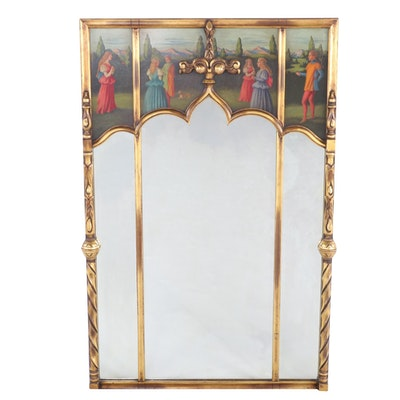 Gothic Style Giltwood Mirror with Figural Painting, Mid 20th Century