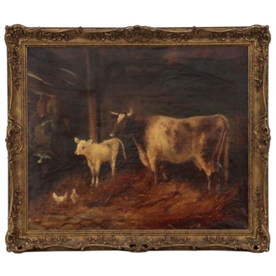 Academic Style Barn Scene Oil Painting, Late 19th Century