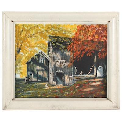 John Kurowski Autumn Barnyard Scene Oil Painting, 1972