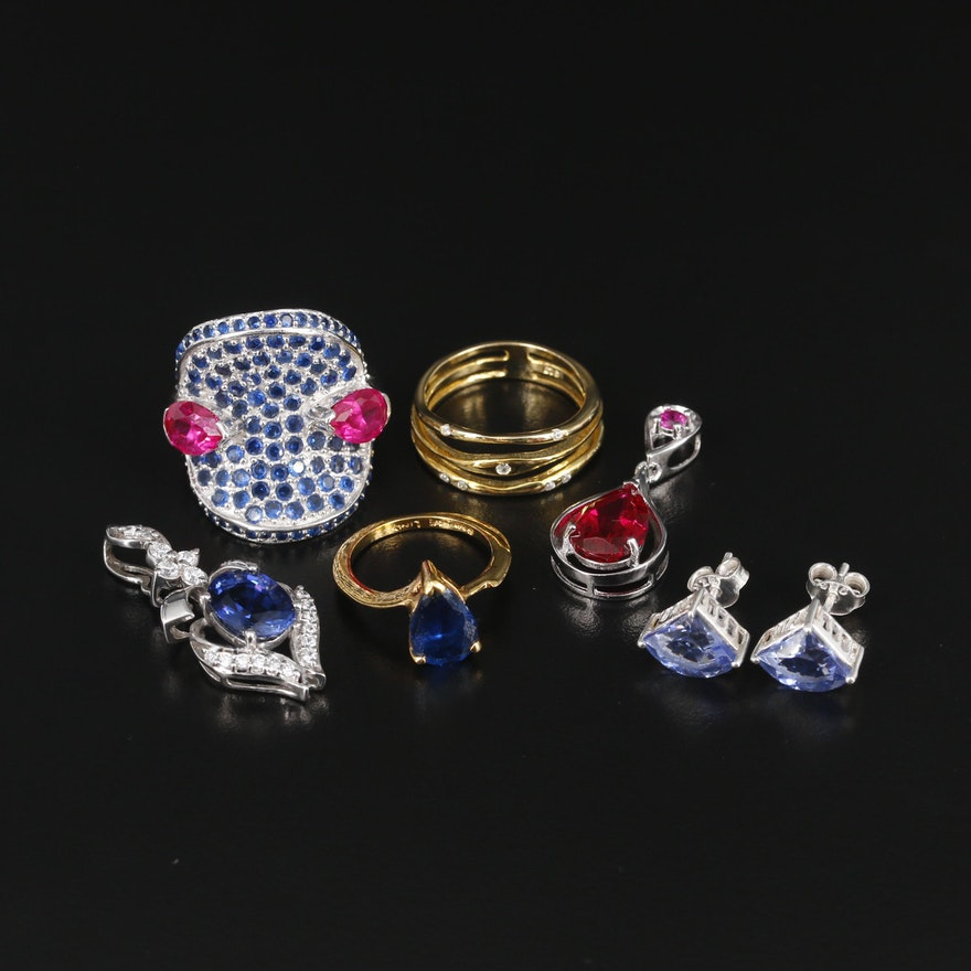 Sterling Silver Jewelry Including Synthetic Spinel and Synthetic Ruby