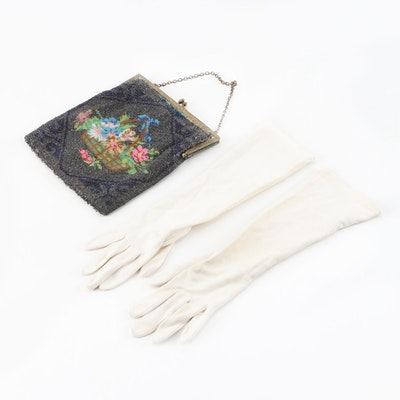 Flower Basket Motif Beaded Frame Purse with Wear Right Nylon Gloves, Vintage