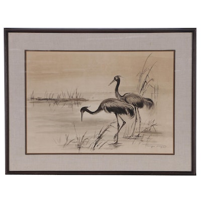 Ink Painting of Cranes, Late 20th Century