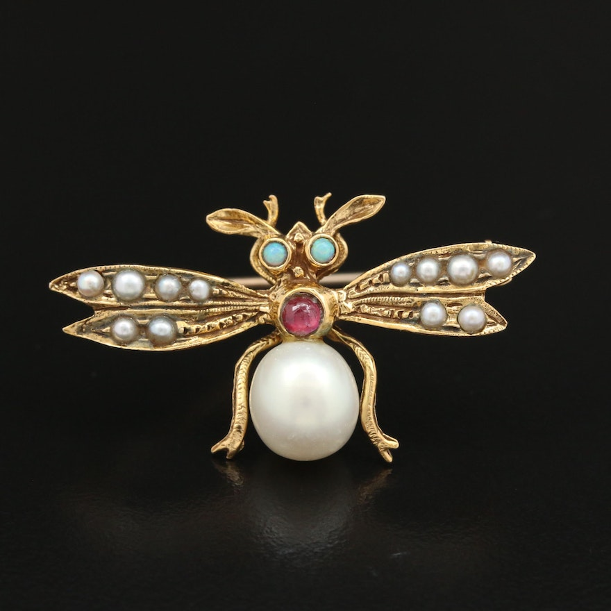 14K Yellow Gold Cultured Pear, Opal, and Ruby Insect Brooch