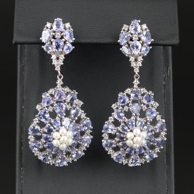 Sterling Silver Tanzanite, Cultured Pearl, and Cubic Zirconia Earrings