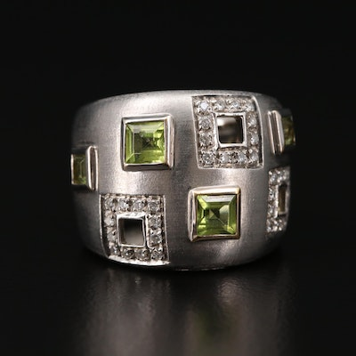 Alfieri & St. John 18K White Gold Peridot and Diamond Wide Band