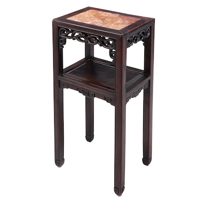 Chinese Hardwood and Marble Top Side Table, 20th Century