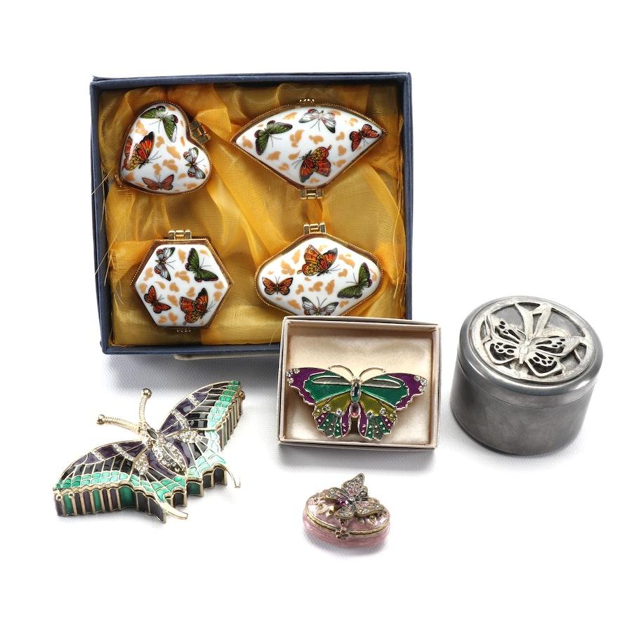 Enamel and Porcelain Butterfly Themed Trinket Box Assortment