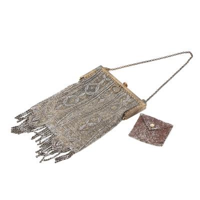 Art Deco Style Steel Cut Beaded Handbag with Coin Purse